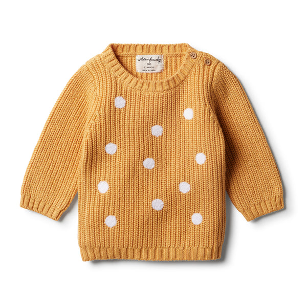 Golden Apricot Knitted Spot Jumper - Wilson and Frenchy