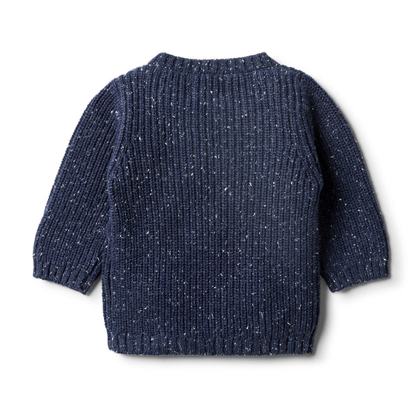 Twilight Blue Knitted Spot Jumper - Wilson and Frenchy