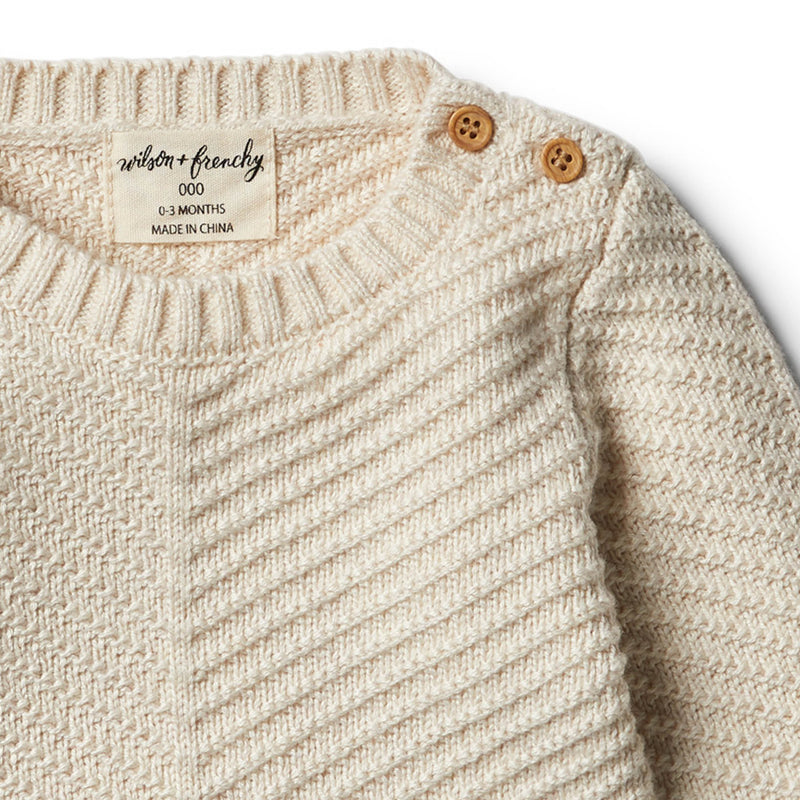 Oatmeal Knitted Chevron Jumper