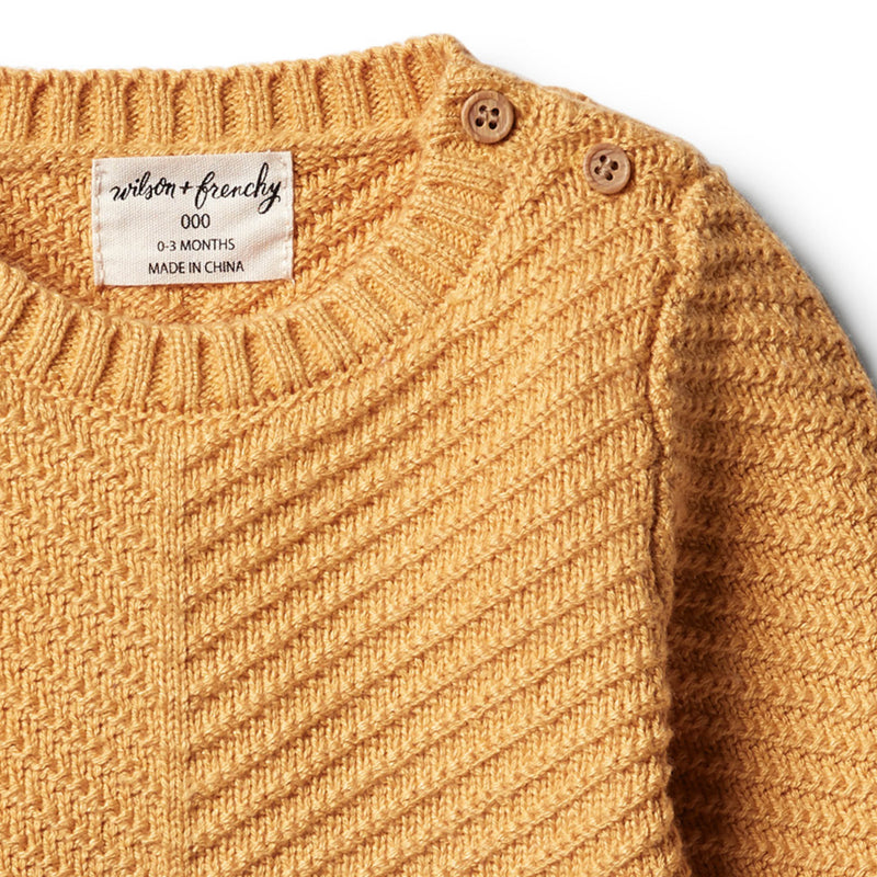 Golden Apricot Knitted Chevron Jumper