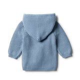 Faded Denim Rib Knitted Hoodie - Wilson and Frenchy