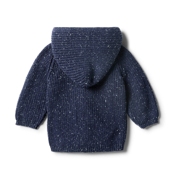 Twilight Blue Rib Knitted Hoodie - Wilson and Frenchy