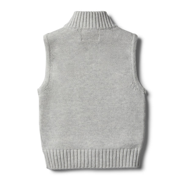 Cloud Grey Knitted Vest - Wilson and Frenchy