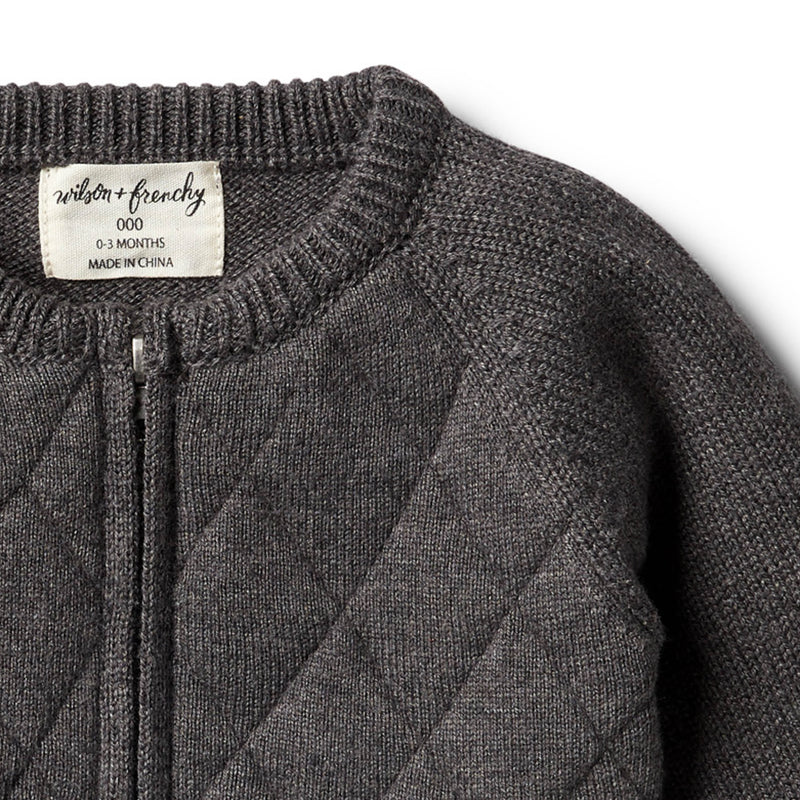 Storm Grey Knitted Zip Thru Cardigan