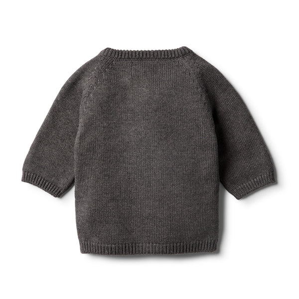 Storm Grey Knitted Zip Thru Cardigan - Wilson and Frenchy