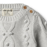 Cloud Grey Knitted Jumper with Baubles