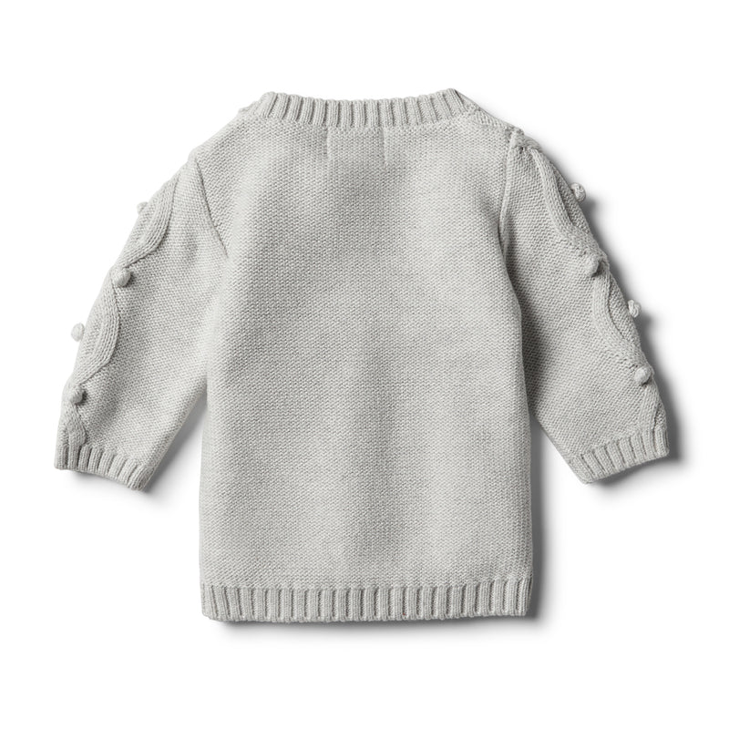 Cloud Grey Knitted Jumper with Baubles - Wilson and Frenchy