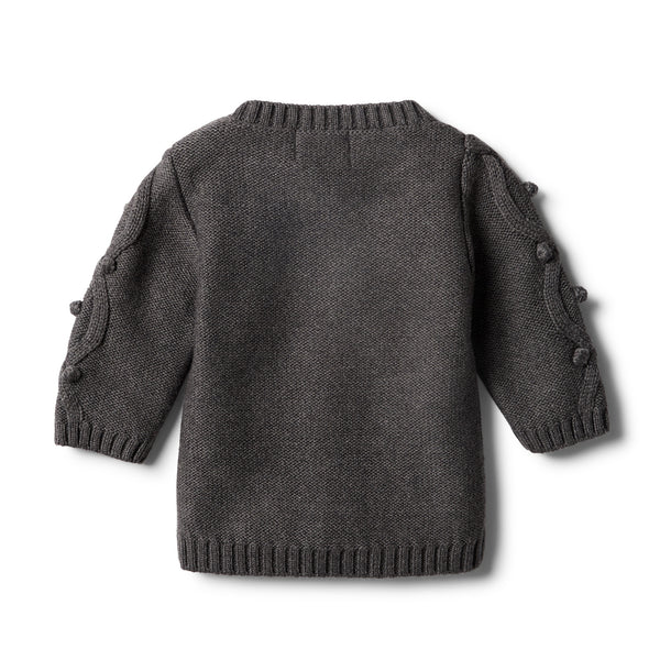 Storm Grey Knitted Jumper with Baubles - Wilson and Frenchy