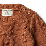 Toasted Pecan Knitted Jumper with Baubles