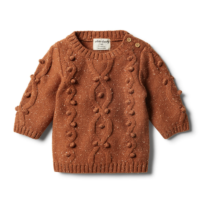 Toasted Pecan Knitted Jumper with Baubles - Wilson and Frenchy