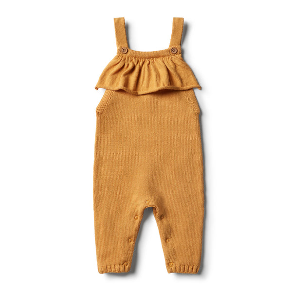 Golden Apricot Knitted Ruffle Overall - Wilson and Frenchy