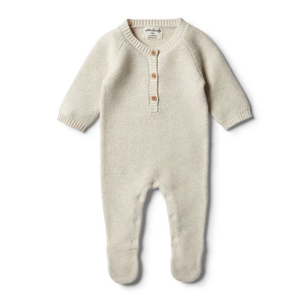 Oatmeal Footed Knitted Growsuit - Wilson and Frenchy