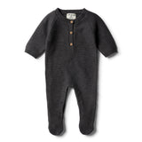 Storm Grey Footed Knitted Growsuit - Wilson and Frenchy
