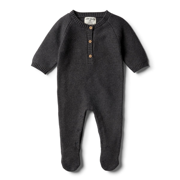 Storm Grey Footed Knitted Growsuit