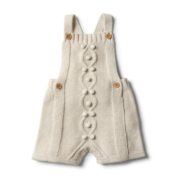 Oatmeal Knitted Overalls With Baubles - Wilson and Frenchy