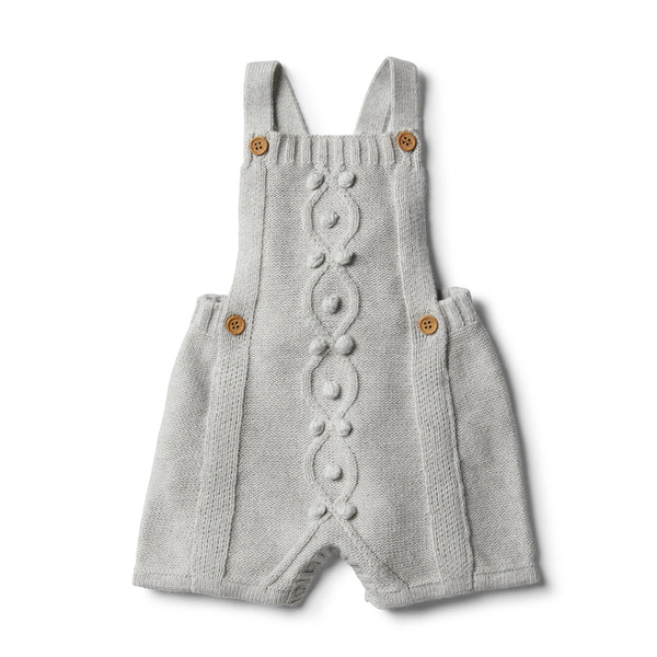 Cloud Grey Knitted Overall with Baubles - Wilson and Frenchy