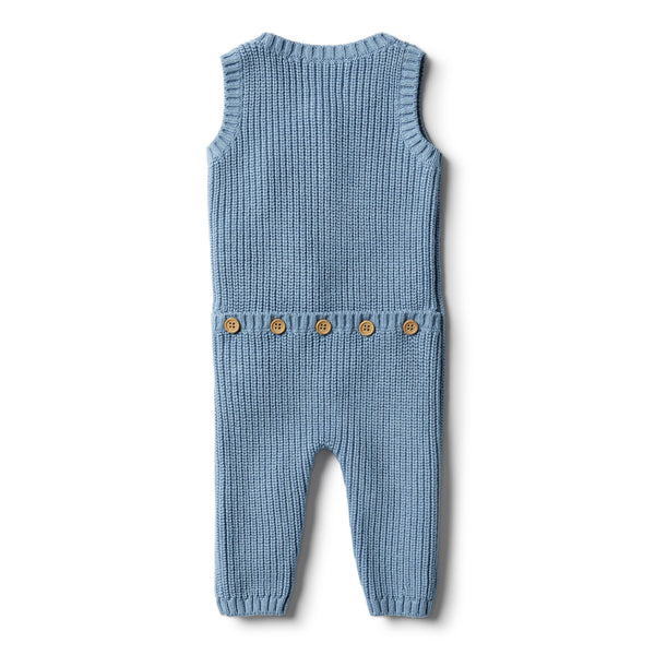Faded Denim Knitted Rib Growsuit - Wilson and Frenchy