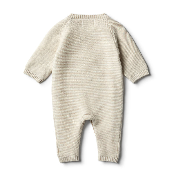 Oatmeal Knitted Growsuit with Baubles - Wilson and Frenchy