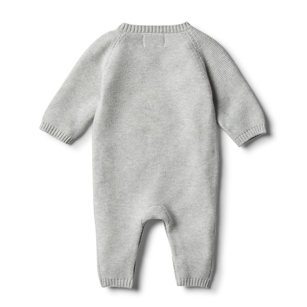 Cloud Grey Knitted Growsuit with Baubles - Wilson and Frenchy