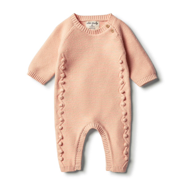 Tropical Peach Knitted Growsuit with Baubles