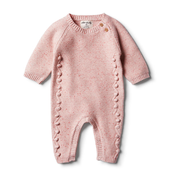 Chilli Fleck Knitted Growsuit with Baubles - Wilson and Frenchy