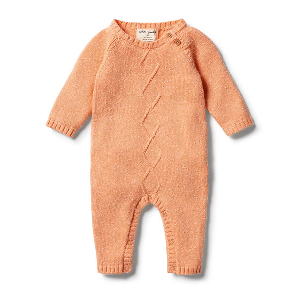 Knitted Cable Ruffle Growsuit