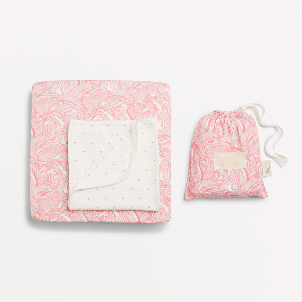 Pink into the jungle cot sheet set