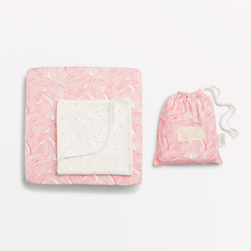 PINK INTO THE JUNGLE COT SHEET SET - Wilson and Frenchy