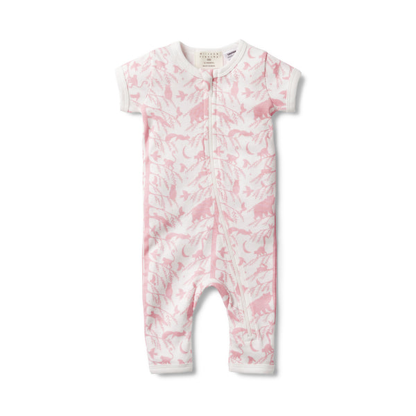 PINK ADVENTURE AWAITS SHORT SLEEVE ZIPSUIT - Wilson and Frenchy