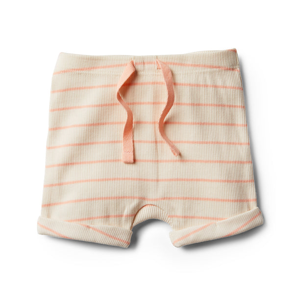 Organic Peach Pearl Stripe Short - Wilson and Frenchy