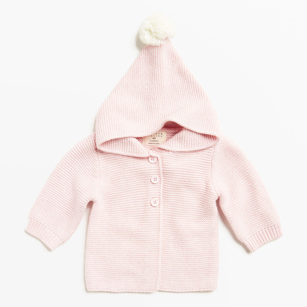 POWDER PINK KNITTED JACKET WITH HOOD