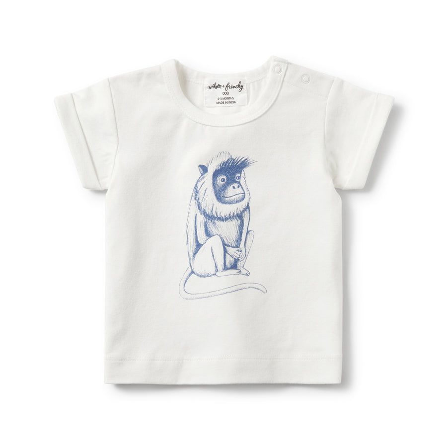 TRUE NAVY CHEEKY MONKEY ROLLED CUFF TEE - Wilson and Frenchy