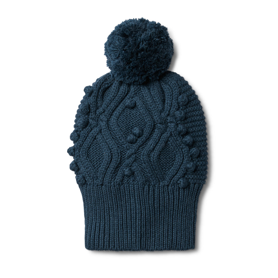 MAJOLICA BLUE CABLE KNITTED POM POM HAT - Wilson and Frenchy