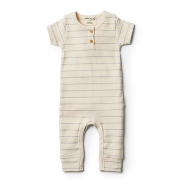 Organic Glacier Grey Stripe Growsuit