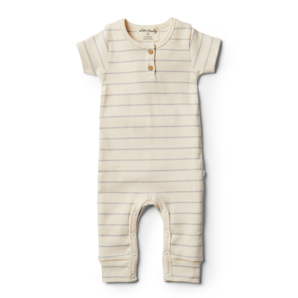 Organic Glacier Grey Stripe Growsuit - Wilson and Frenchy