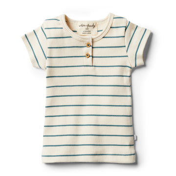 Organic Jungle Green Stripe Tee