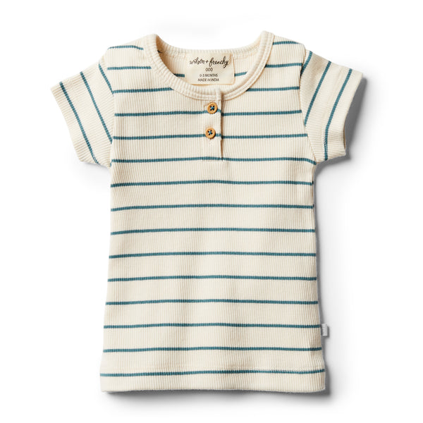 Organic Jungle Green Stripe Tee - Wilson and Frenchy