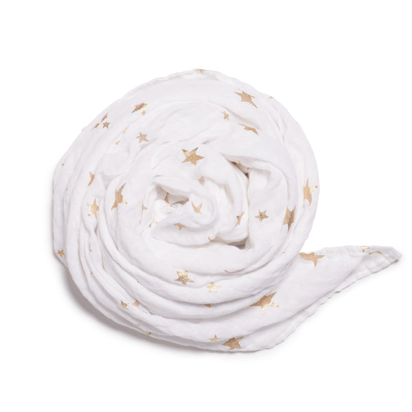 WHITE STAR BRIGHT MUSLIN WRAP