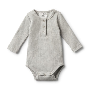 ORGANIC GREY MARLE RIB LONG SLEEVE BODYSUIT