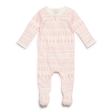 PINK MOON AZTEC ZIPSUIT WITH FEET - Wilson and Frenchy