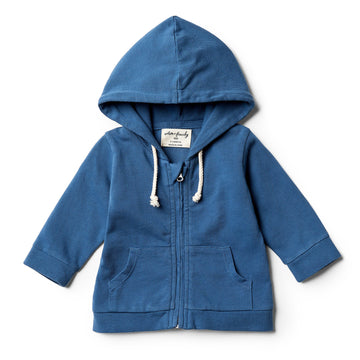 Deep Blue Hooded Jacket with Zip