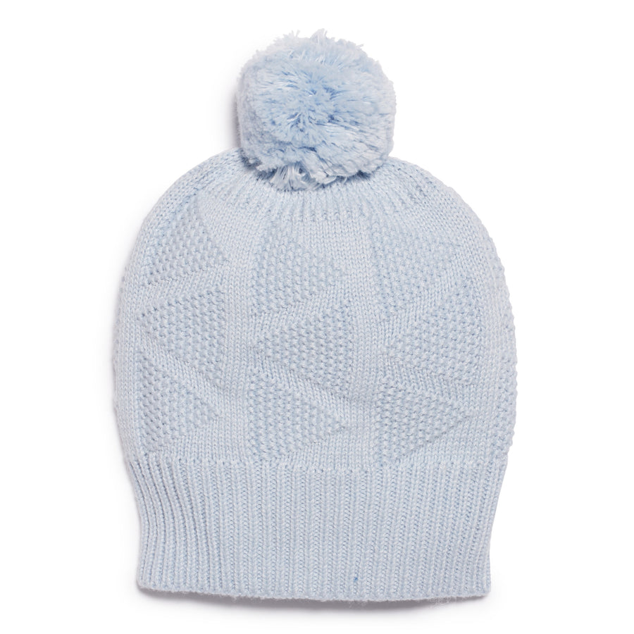 CASHMERE BLUE KNITTED HAT - Wilson and Frenchy