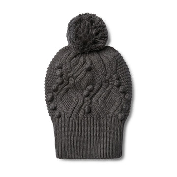 DARK MOON CABLE KNITTED POM POM HAT - Wilson and Frenchy