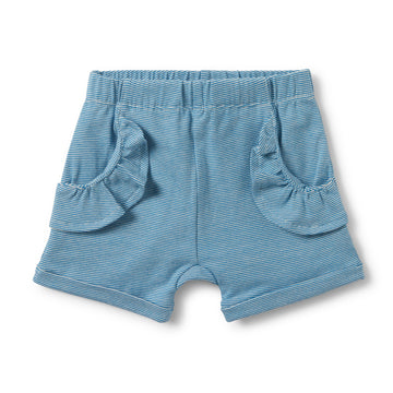 MEDITERRANEAN BLUE STRIPE RUFFLE POCKET SHORTS-SHORTS-Wilson and Frenchy