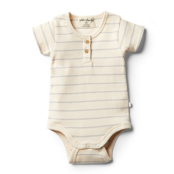Organic Glacier Grey Stripe Bodysuit - Wilson and Frenchy