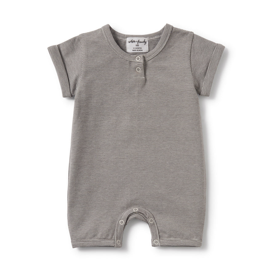 CHARCOAL STRIPE PLACKET DETAIL BOYLEG GROWSUIT - Wilson and Frenchy