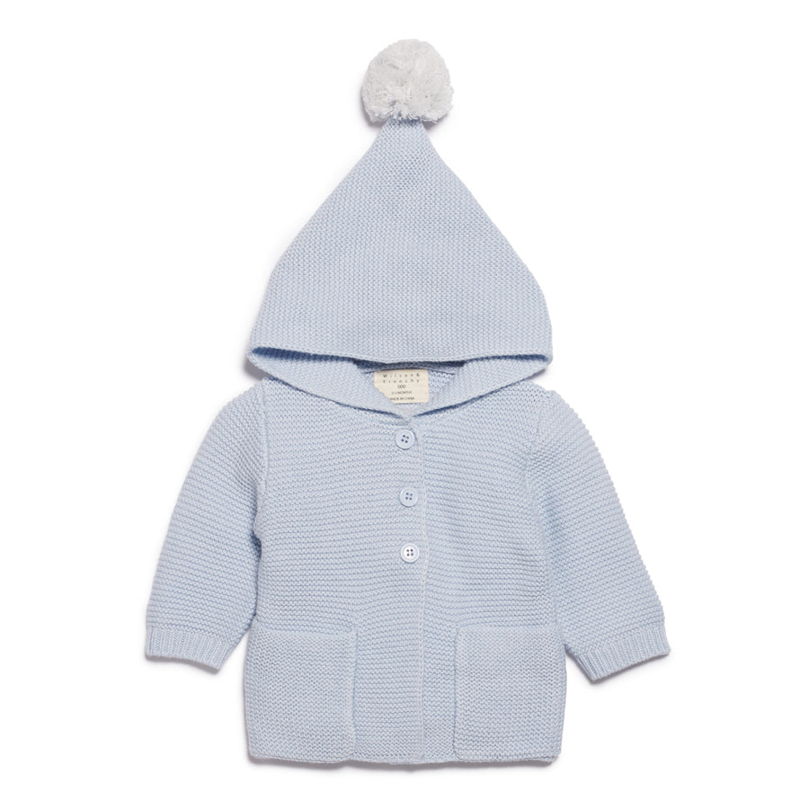 CASHMERE BLUE  KNITTED JACKET WITH HOOD-KNITTED JACKET-Wilson and Frenchy