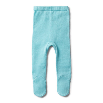 PETIT BLUE KNITTED LEGGING WITH FEET - Wilson and Frenchy