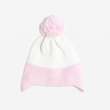 OATMEAL/ POWDER PINK KNITTED HAT - Wilson and Frenchy