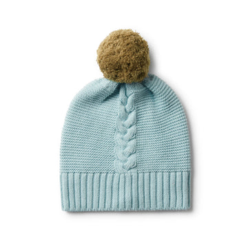 SEAFOAM CABLE KNIT HAT WITH POM POM